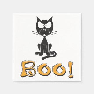 ハッピーハローウィンの黒猫のブーイング スタンダードカクテルナプキン