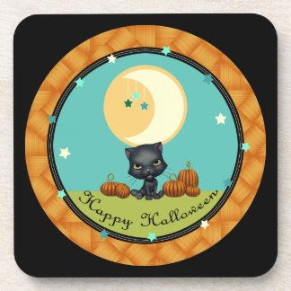 ハッピーハローウィンの黒猫の月はコースターBLKを主演します コースター