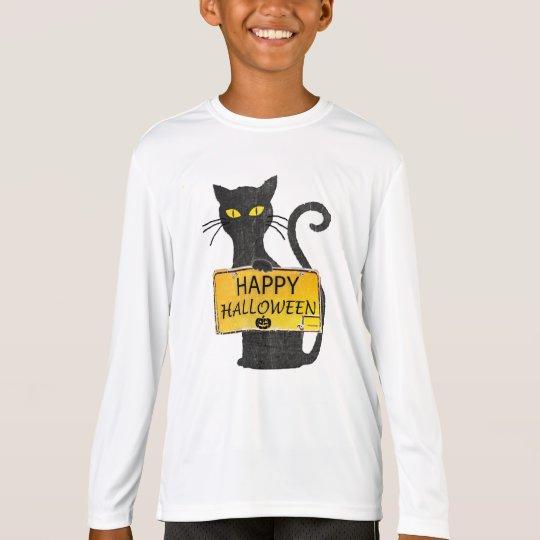 ハッピーハローウィンの黒猫の素朴な印のワイシャツ Tシャツ