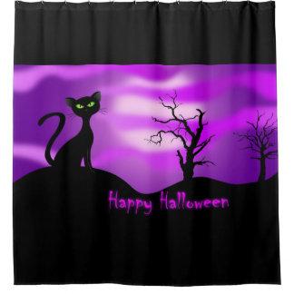 ハッピーハローウィンの黒猫の紫色 シャワーカーテン