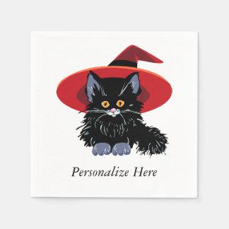 ハッピーハローウィンの黒猫 スタンダードカクテルナプキン