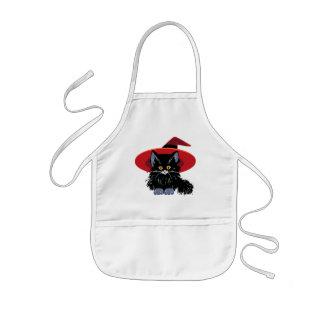 ハッピーハローウィンの黒猫 子供用エプロン