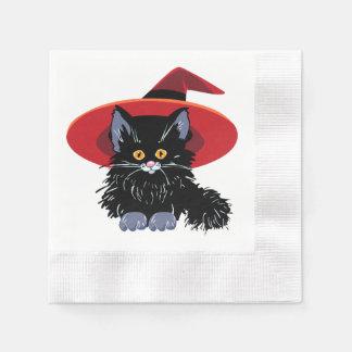 ハッピーハローウィンの黒猫 縁ありカクテルナプキン