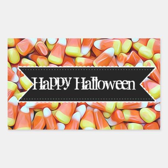 ハッピーハローウィンキャンデーキャンデートウモロコシのステッカー 長方形シール