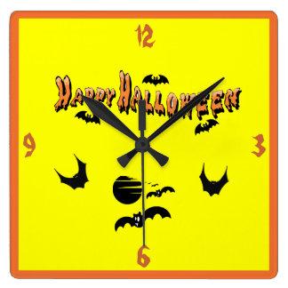 ハッピーハローウィン及びこうもり- スクエア壁時計