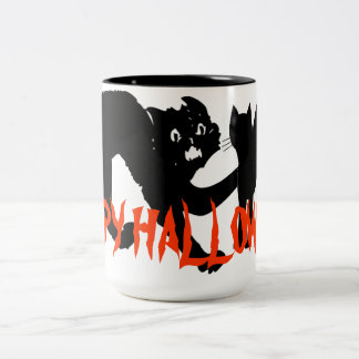 ハッピーハローウィン恐いCATのマグ ツートーンマグカップ