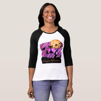 ハッピーハローウィン猫の月のフクロウのこうもりの木場面ワイシャツ Tシャツ