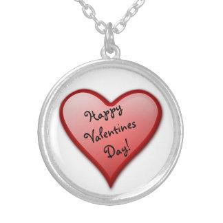 ハッピーバレンタインデーのハートのネックレス シルバープレートネックレス
