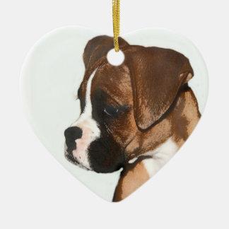 ハッピーバレンタインデーのボクサー犬のオーナメント セラミックオーナメント