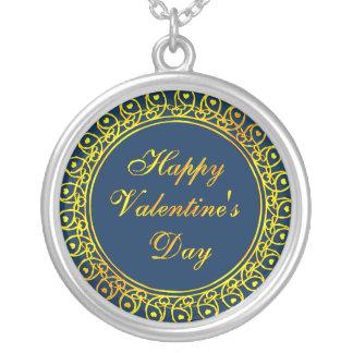 ハッピーバレンタインデーの円形のネックレス シルバープレートネックレス