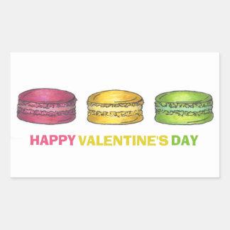 ハッピーバレンタインデーの甘いフランス人のMacaronのクッキー 長方形シール