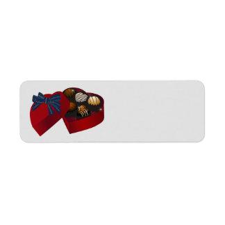 ハッピーバレンタインデーの赤いハートチョコレート箱 ラベル
