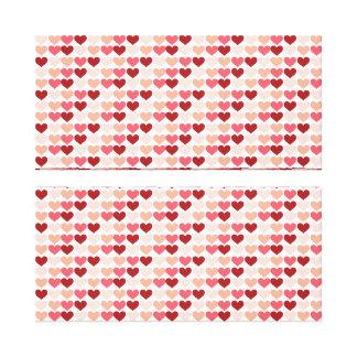 ハッピーバレンタインデーの赤いピンクのハートパターン キャンバスプリント