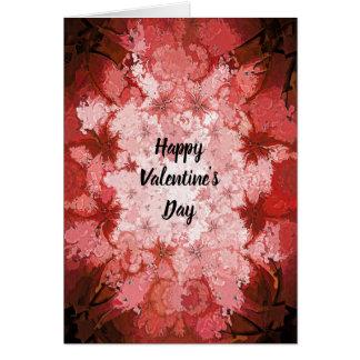 ハッピーバレンタインデーの赤い万華鏡のように千変万化するパターンの抽象芸術 カード