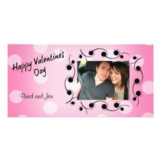 ハッピーバレンタインデーの黒く、ピンクの名前入り カード