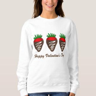 ハッピーバレンタインデーチョコレートはいちごを浸しました スウェットシャツ