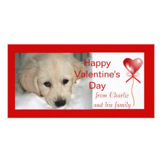 ハッピーバレンタインデー犬の写真カード カード