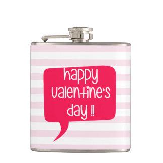 ハッピーバレンタインデー! ピンクのストライプのなフラスコ フラスク