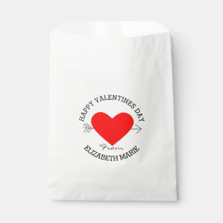 ハッピーバレンタインデー-名前入りな赤いハート フェイバーバッグ