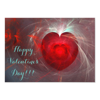 ハッピーバレンタインデー! 深紅のフラクタルのハート カード