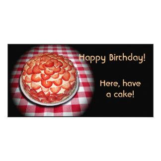 ハッピーバースデーのいちごのケーキ カード