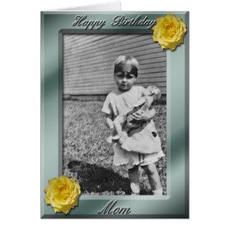 ハッピーバースデーのお母さんの写真カードテンプレート カード