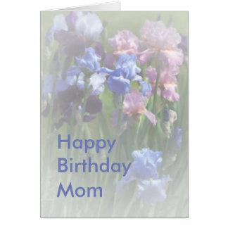ハッピーバースデーのお母さんの夏のアイリステンプレート カード