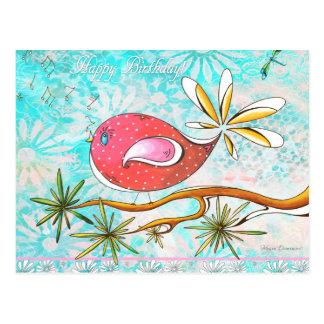 ハッピーバースデーのお洒落な鳥の郵便はがき ポストカード