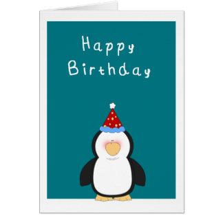 ハッピーバースデーのかわいいペンギン カード