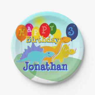 ハッピーバースデーのかわいい漫画の恐竜の気球 紙皿 小