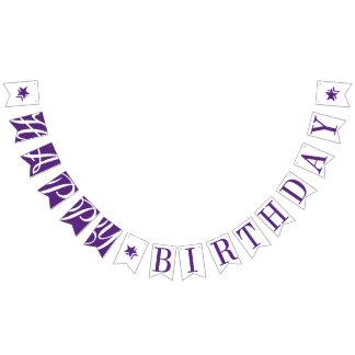 ハッピーバースデーのかわいらしい紫色および白い バンティングフラッグ