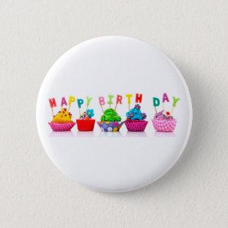 ハッピーバースデーのカップケーキ-ボタン 5.7CM 丸型バッジ