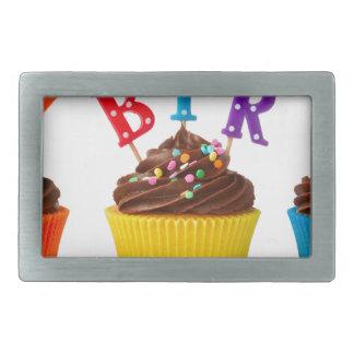 ハッピーバースデーのカップケーキ 長方形ベルトバックル