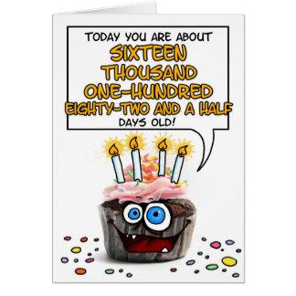 ハッピーバースデーのカップケーキ- 44歳 カード