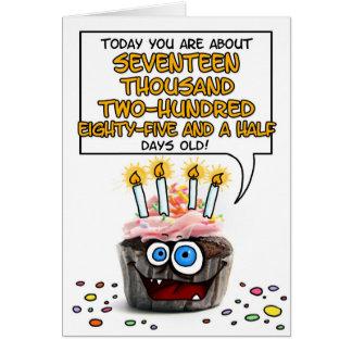 ハッピーバースデーのカップケーキ- 47歳 カード