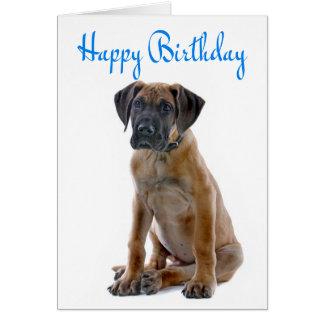 ハッピーバースデーのグレートデーンの小犬カード-詩 カード