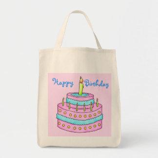 ハッピーバースデーのケーキのカスタマイズ可能なピンク トートバッグ