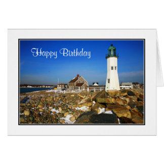 ハッピーバースデーのケープコッドの灯台挨拶状 カード