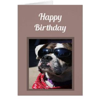ハッピーバースデーのセクシーな事のおもしろいのボクサー犬の挨拶 カード