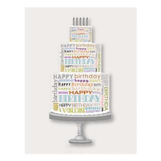 ハッピーバースデーのタイポグラフィのケーキの郵便はがき ポストカード