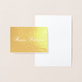ハッピーバースデーのタイポグラフィの金ゴールドホイルカード 箔カード