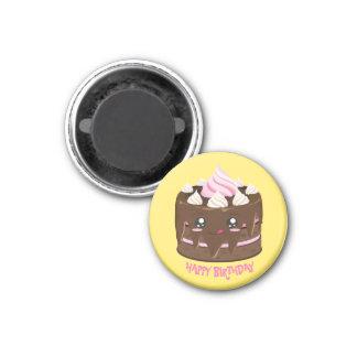 ハッピーバースデーのチョコレートケーキ、かわいい、ピンクの文字 マグネット