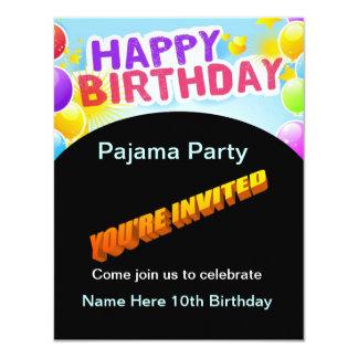 ハッピーバースデーのパジャマのパーティの招待状 カード