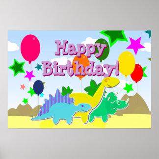 ハッピーバースデーのパーティーは恐竜ポスターを風船のようにふくらませます ポスター