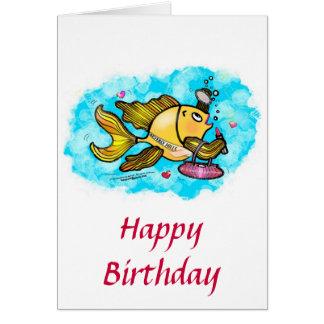 ハッピーバースデーのビバリー・ヒルズの美しいの魚のかわいいカード カード
