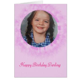 ハッピーバースデーのピンクのカスタムな写真 カード