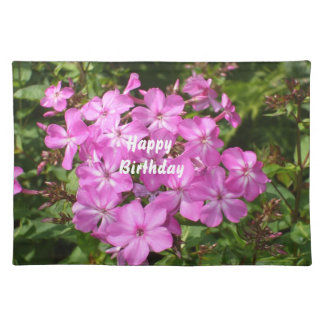 ハッピーバースデーのピンクの花の花束 ランチョンマット