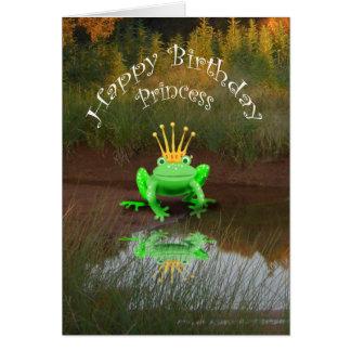 ハッピーバースデーのプリンセス、緑カエルおよび王冠、 カード