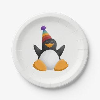 ハッピーバースデーのペンギン ペーパープレート
