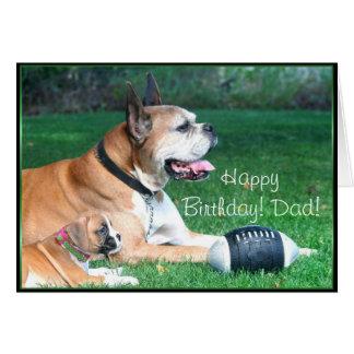 ハッピーバースデーのボクサーのパパおよび子犬の挨拶状 グリーティングカード